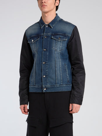 Contrast Fabric Denim Jacket