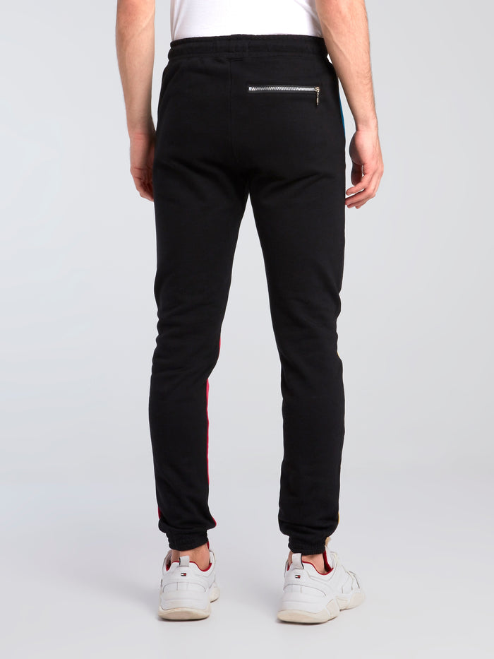 Colour Block Embroidered Track Pants