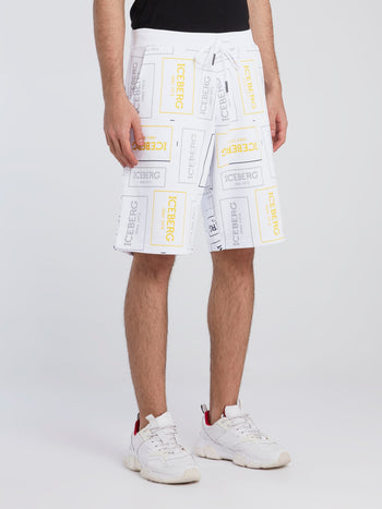White Logo Print Drawstring Shorts