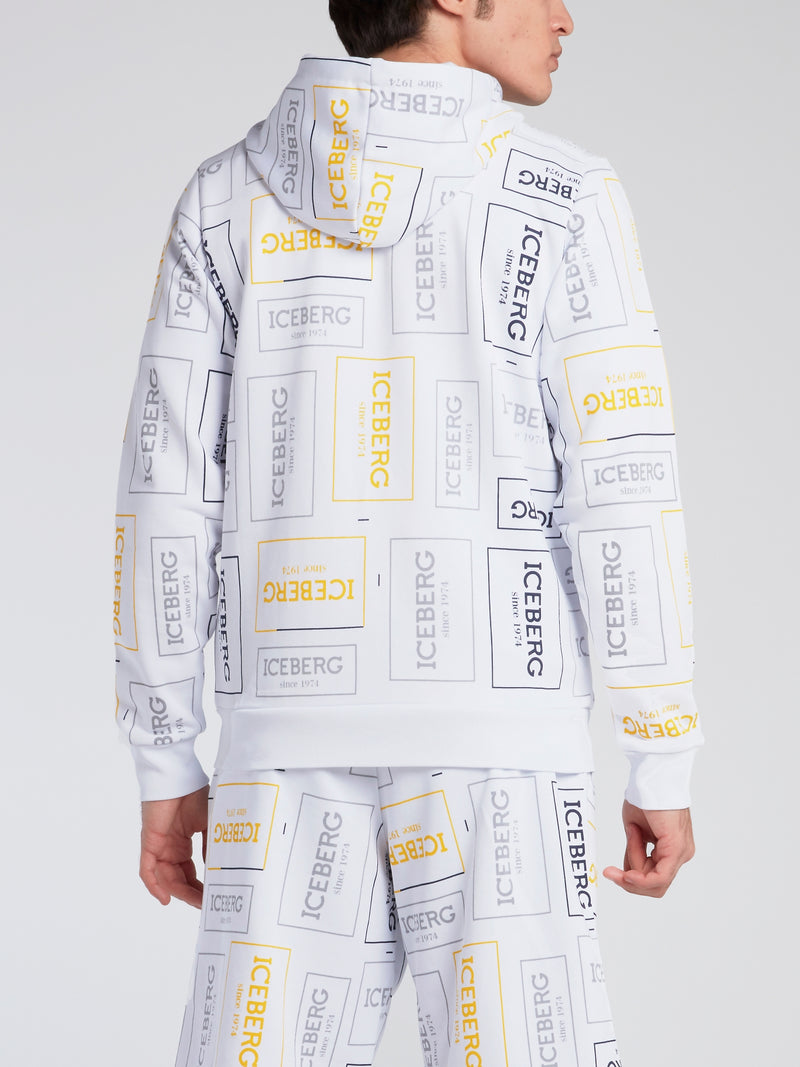 White Logo Print Zip Up Sweatshirt
