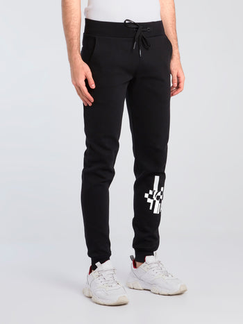 Black Contrast Logo Print Sweatpants