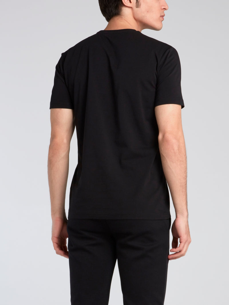 Black Logo Print Round Neck T-Shirt