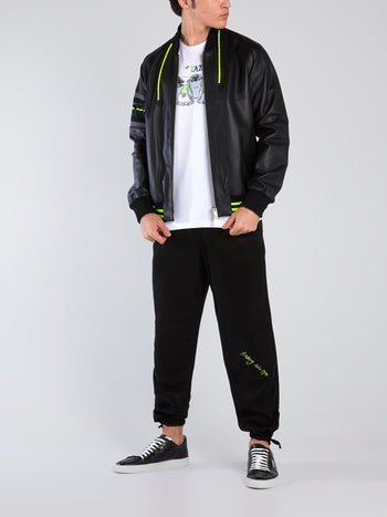 Black Contrast Drawstring Track Pants