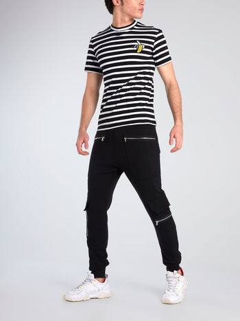Striped Appliquéd Crewneck T-Shirt