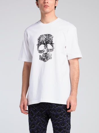White Beaded Statement Skull T-Shirt