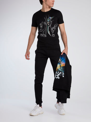 Marvin the Martian Black Cotton T-Shirt