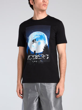 E.T. Black Graphic Print T-Shirt