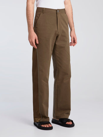 Army Khaki Satin Tape Wide Leg Pants