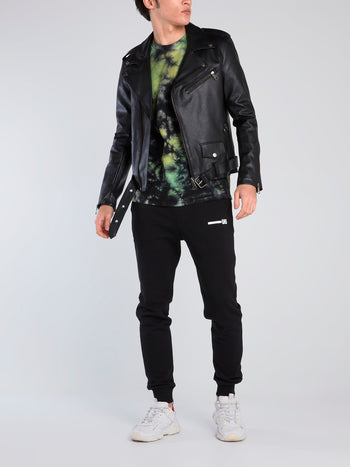 Contrast Logo Leather Biker Jacket