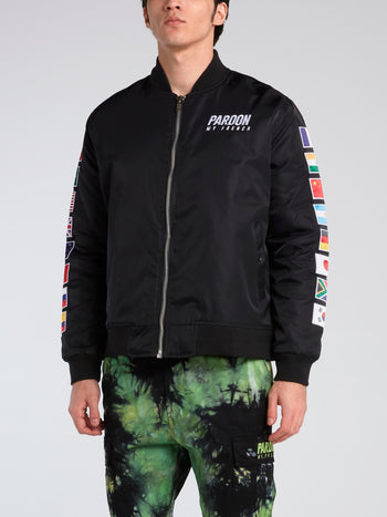 Flag Embroidered Bomber Jacket