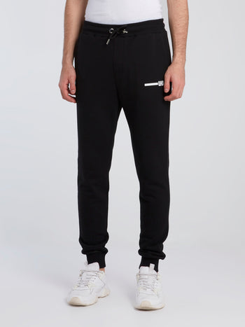 Black Contrast Tape Track Pants