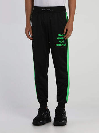Black Contrast Band Sweatpants