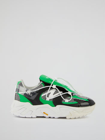 Green Mesh Panel Chunky Sneakers