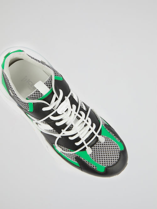Green Lace-Up Chunky Sneakers