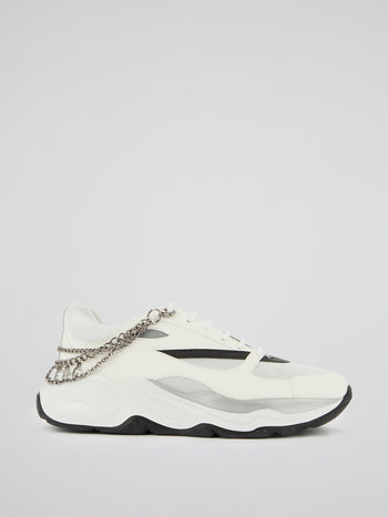 White Logo Chain Embellished Sneakers
