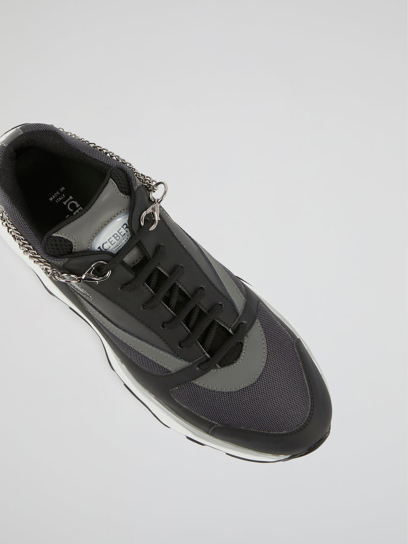 Black Logo Chain Embellished Sneakers