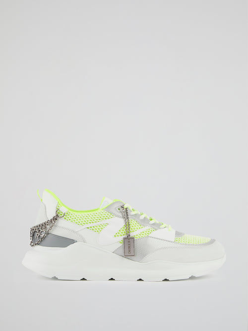 White Chain Embellished Chunky Sneakers