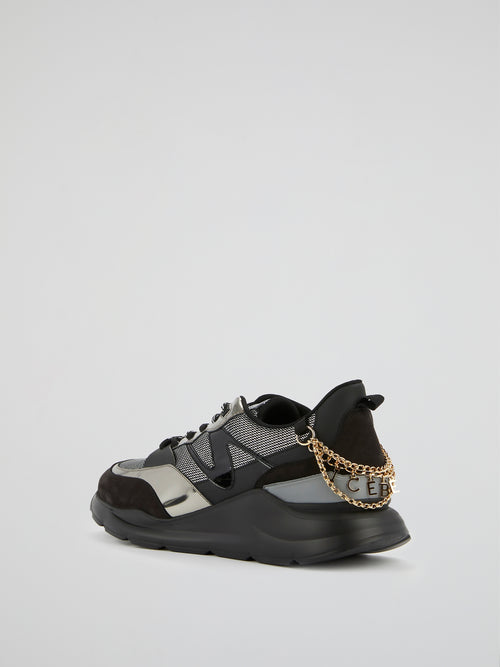 Black Chain Embellished Chunky Sneakers