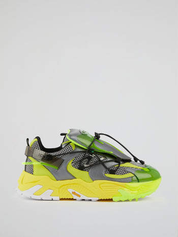 Yellow Mesh Panel Chunky Sneakers