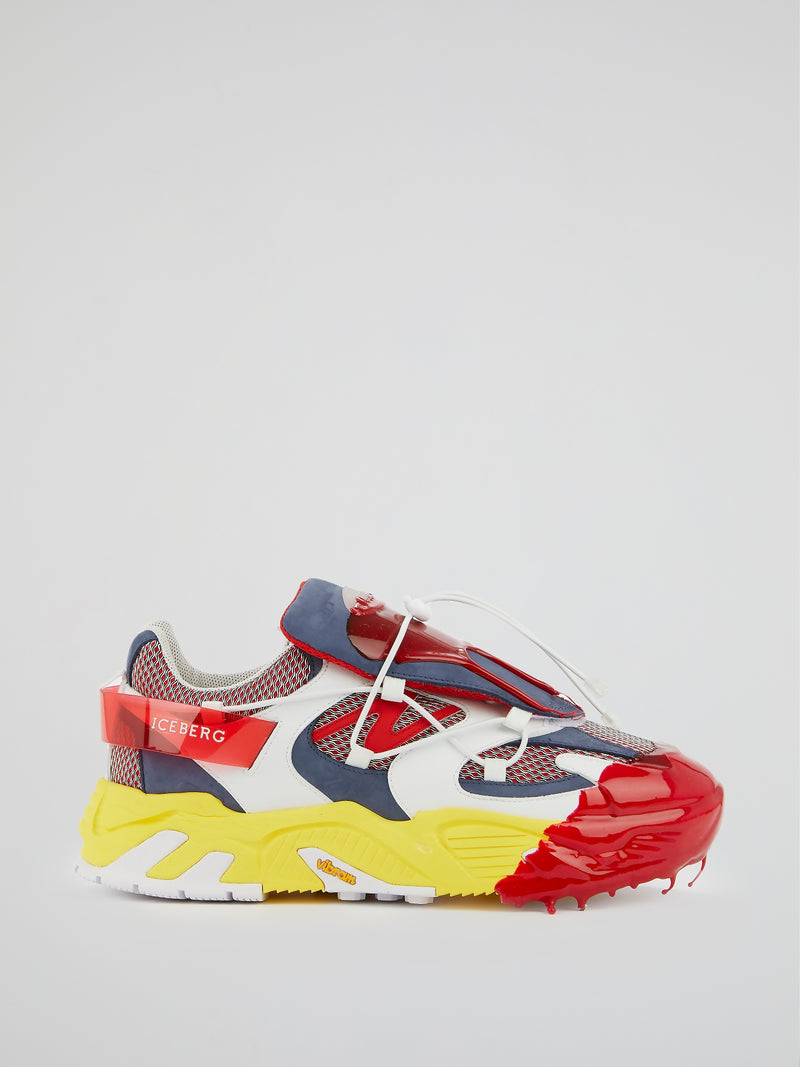 Colour Block Mesh Panel Chunky Sneakers