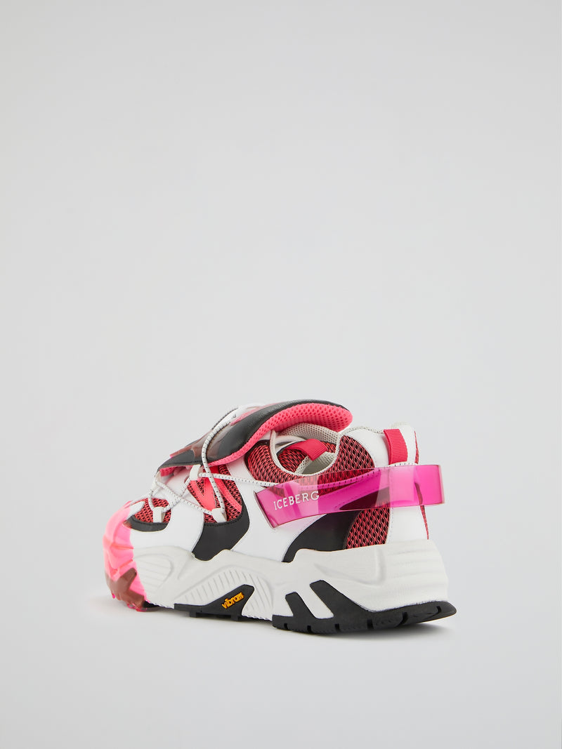 Pink Mesh Panel Chunky Sneakers