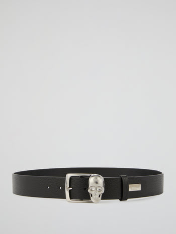 Black Skull Buckle Leather Belt