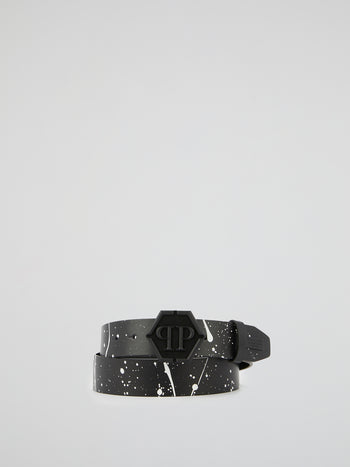 Monogram Buckle Paint-Splatter Belt