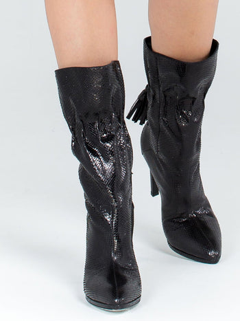 Black Snake Skin Textured Leather Boots