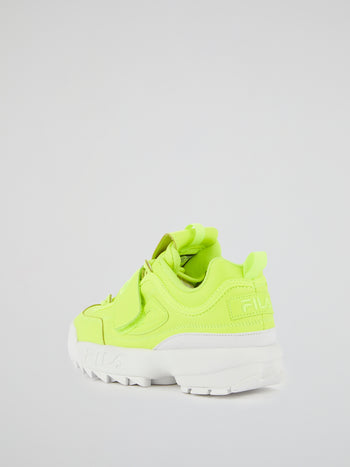 Disruptor II Neon Yellow Applique Sneakers