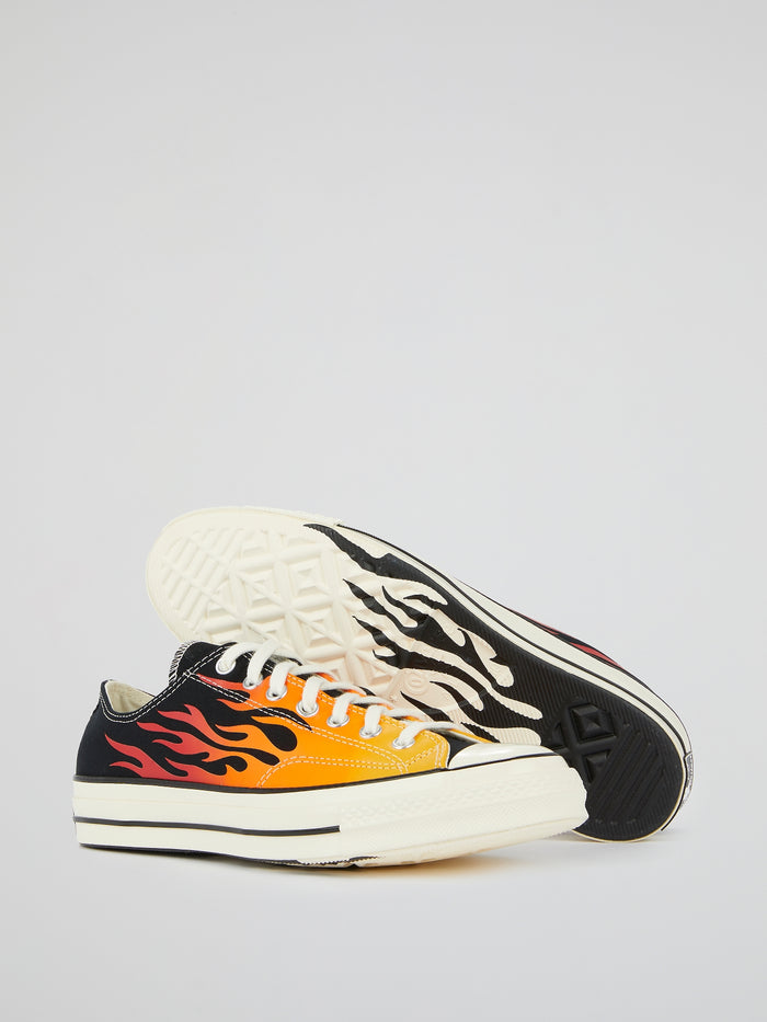 Chuck 70 OX Flame Print Canvas Sneakers
