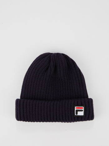 Navy Ribbed Fisherman Beanie
