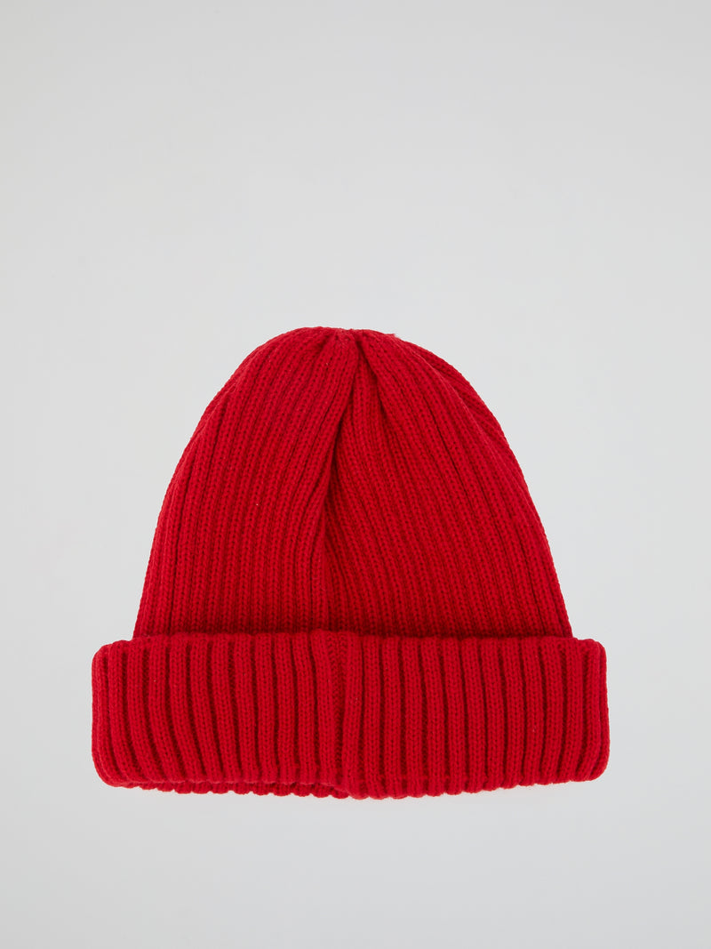 Red Ribbed Fisherman Beanie