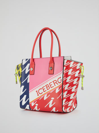 Logo Print Leather Tote Bag