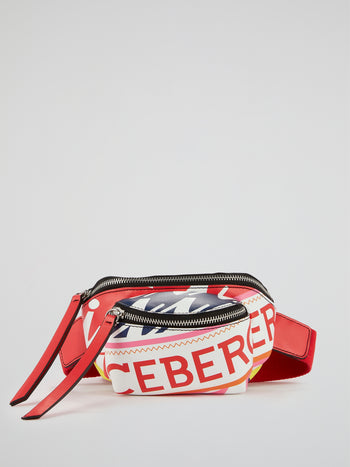 Logo Print Leather Fanny Pack