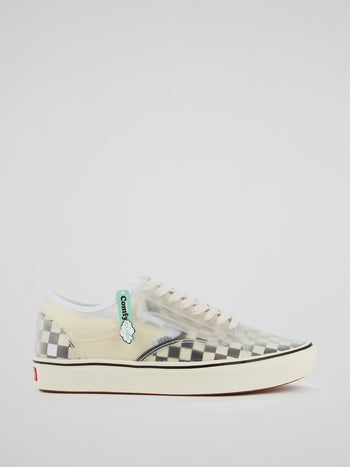 White Checkerboard ComfyCush Slip-Skool Sneakers