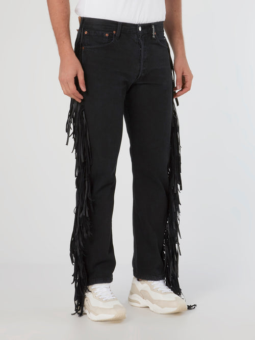 Blue Fringe Denim Jeans