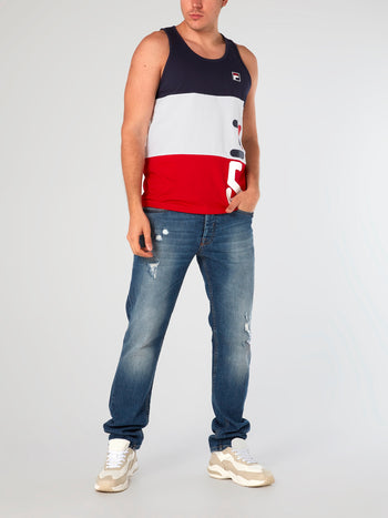 Cut & Sew Stripe Graphic Tank Top