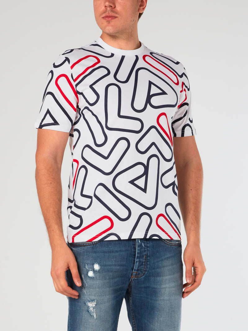 White Outline All-Over Print T-Shirt