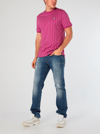 Pink Striped Triple Collar T-Shirt