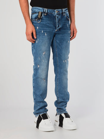 Blue Distressed Straight Cut Jeans