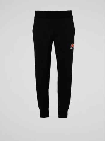Forza Black Ribbed Waistband Track Pants