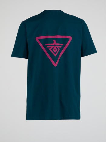 Teal Monogram Print T-Shirt