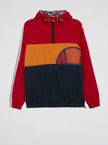 Agnolo Red Drawstring Windbreaker