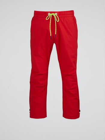 Red Bootcut Drawstring Pants