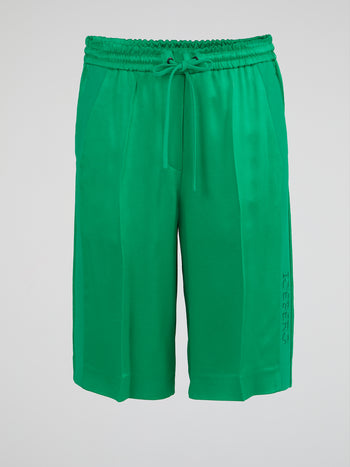 Green Drawstring Knee-Length Shorts