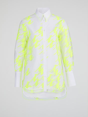 White Overlay Print High-Low Shirt