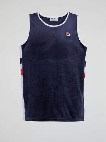Navy Velour Baseball Tank Top
