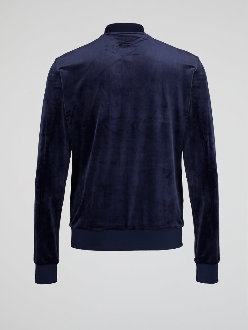 Navy Velour Baseball Jacket