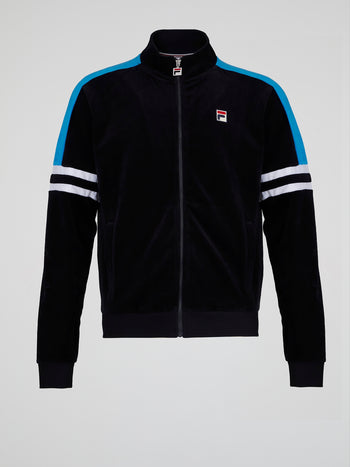 Black Zip-Up Velour Track Jacket