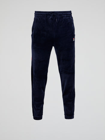Navy Velour Track Pants